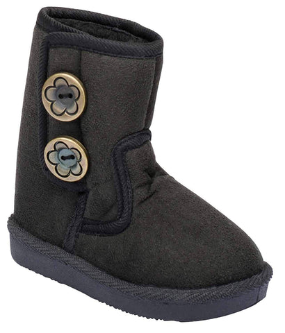 Toddler Girls Fur Slip On Button Snow Ankle Bootie Vegan