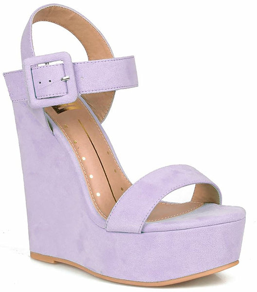 Lilac Vegan Suede Open Toe Buckled Ankle Strap Platform Wedge