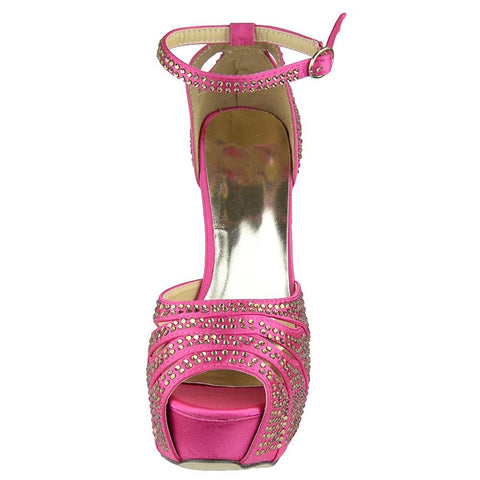 Platform Sandals Studded Peep Toe Cutout High Heel Dress Shoes Pink Women's