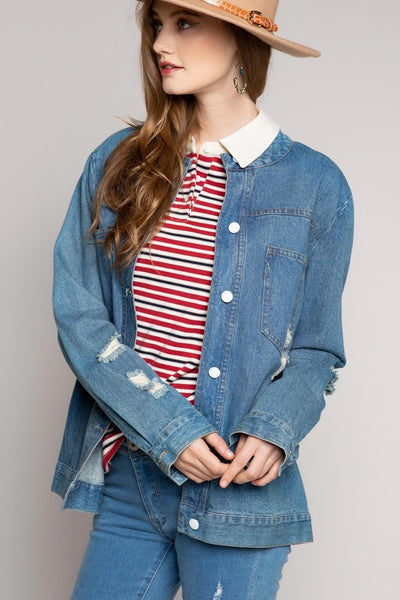 Women's Mandarin Collar Distressed Button Down Denim Jean Jacket