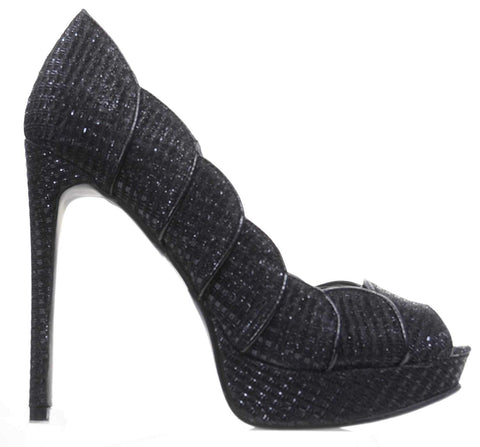Black Scalloped Glitter Peep-Toe Stiletto Heels Pump Women's