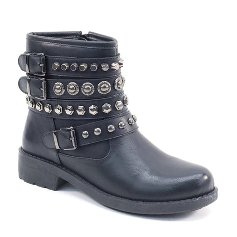 Women's Rock Style Rivets Buckle Flat Ankle Boots Vegan Leather