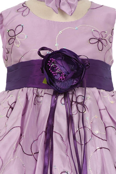 Girls Toddler Flower Wedding Pageant Tan or Purple Party Dress