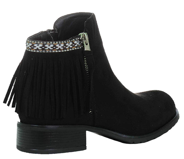 Fringe Round Toe Cowgirl Vegan Suede Ankle Women's Vegan Leather Booties