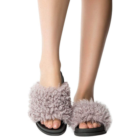 Fuzzy Vegan Shearling Open Toe Footbed Slip On Sandal Purple