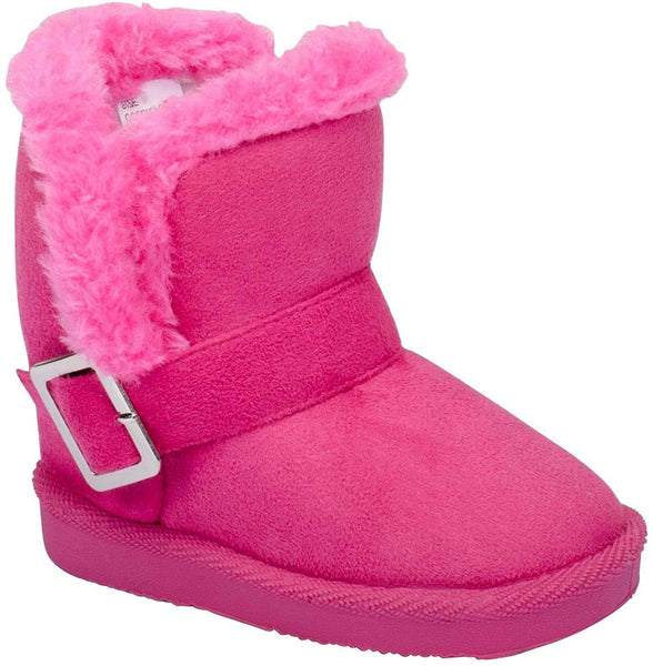 Hot Pink Toddler's Fur Slip On Buckle Snow Ankle Bootie Vegan