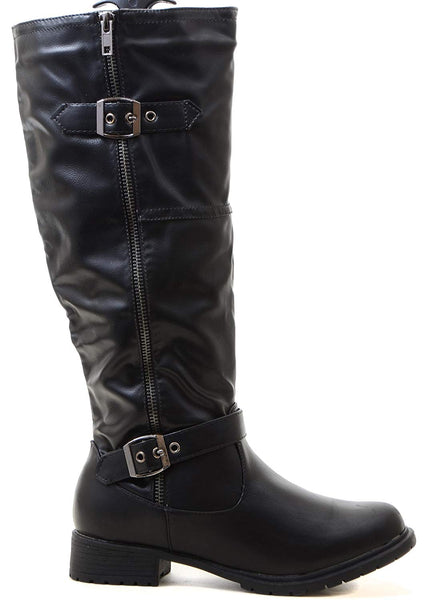 Black Riding Double Ankle Strap Knee-high Women's Vegan Biker Boots