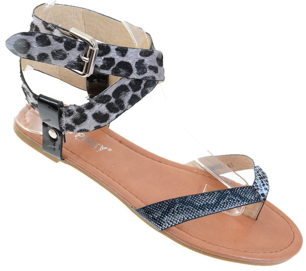Leopard Leatherette Criss Cross Anklet Thong Sandal
