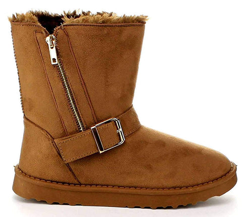 Zipper Furry Vegan Suede Women's Comfort Winter Shoes Booties