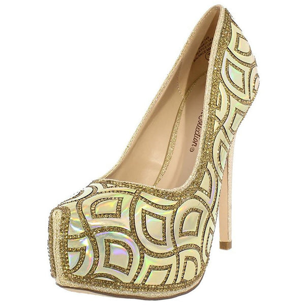 Shimmer Gold Glitter Rhinestone Almond Toe Stiletto Heel Pumps Women's