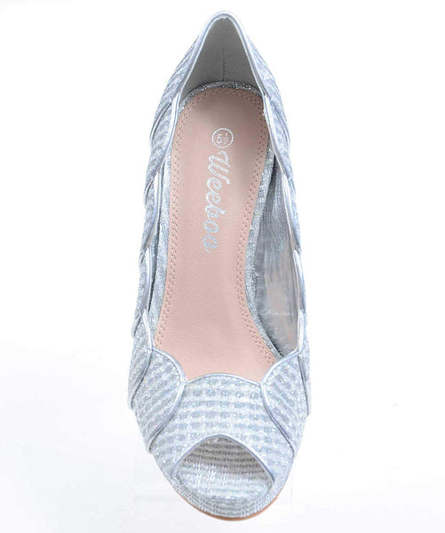 Silver Scalloped Glitter Peep-Toe Stiletto Heels Pump Women's