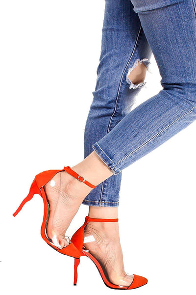 Red Suede Pointed Toe Clear Design Ankle Strap Curve Stiletto Heel Pumps