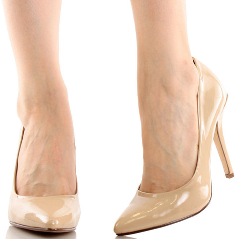 My Delicious Date Beige Patent Pointed Pumps