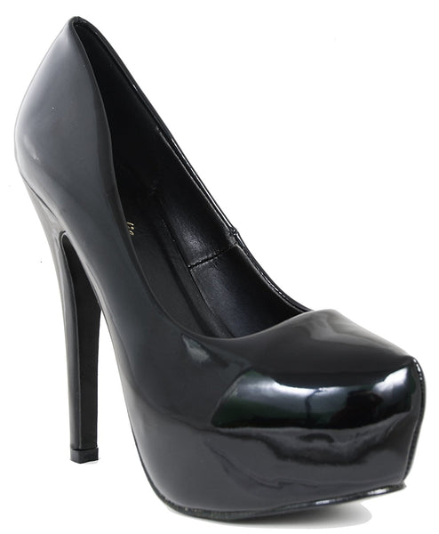 Black Patent Almond Toe Platform Pump Womens Stiletto Heels Women's