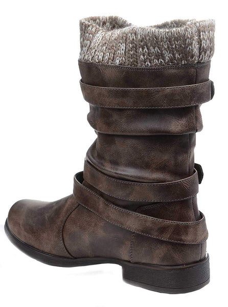 Sweater Cuff Buckle Slouch Vegan Womens Flat Boot Women's Brown