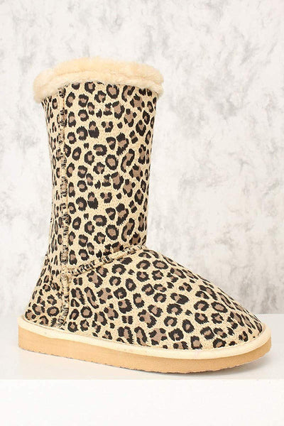 Leopard Furry Faux Shearling Vegan Fleece Womens Flat Boot Women's