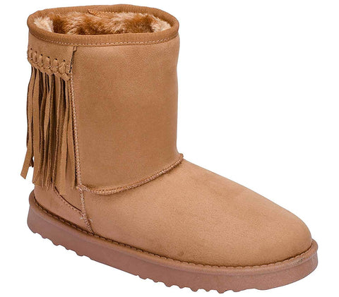 Fringe Furry Vegan Shearling Suede Fleece Women's Flat Boot
