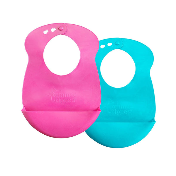 Tommee Tippee Rubber Easi-Roll Bib Pink Blue 2 Count