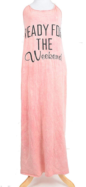 Womens 'Ready for The Weekend' Long Fashion Maxi Tank Dress