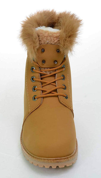 Fur & Shearling Trim Lug Boots Vegan Suede Booties Women's