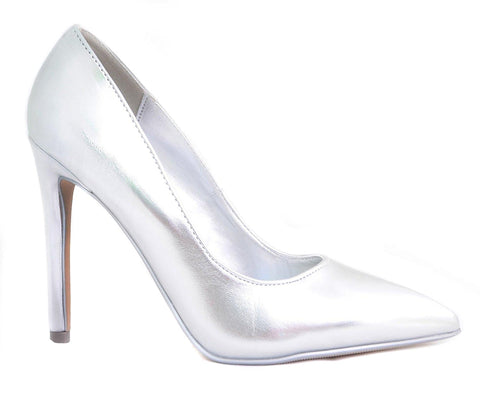 Silver Metallic Cindy by Delicious Classic Pointy Toe Heels Women's Shoes