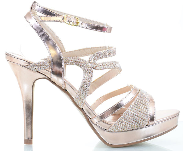 Glitter Mesh Metallic Strappy Open Toe Stiletto Party Sandal Heels