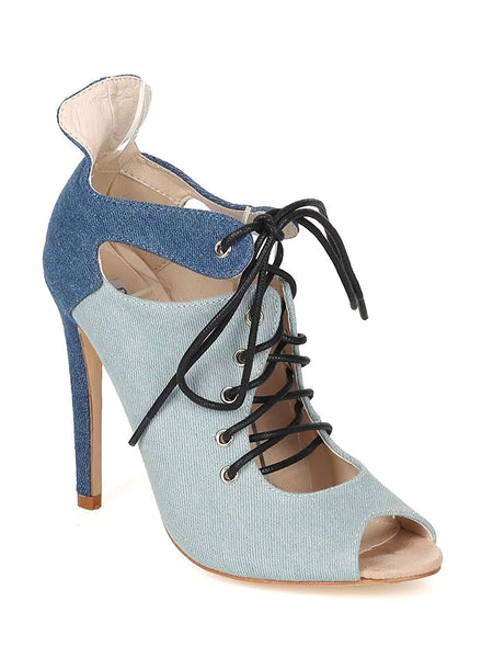 Two Tone Front Lace Up Peep Toe High Heel Booties Faux Suede