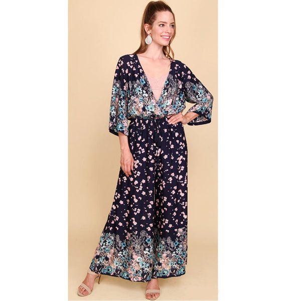 Navy Blue Wide Leg Flower Print Jumpsuit Kimono Sleeves