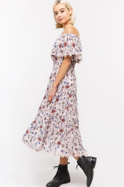 Floral Lace Trim Off the Shoulder Chiffon Midi Dress