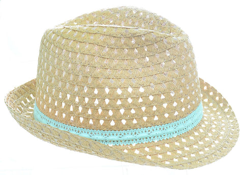 Beige Mint Straw Adult Fedora Fashion Summer Hat