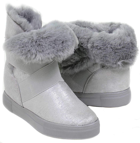 Grey Shimmer Boots Fur Vegan Women's Mid-Calf Winter Slip On