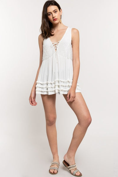 Tiered Ruffle 3D Front Lace Up Panel Sleeveless Jersey Top