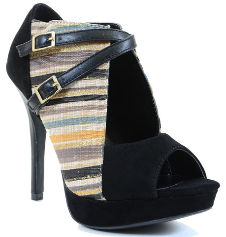 Stripe Woven Peep-toe Cut-out Strappy Heels Women