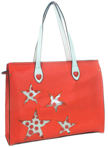 Stars Dots Hearts Handbag Purse Vegan Leather Tote Bag Carry-on