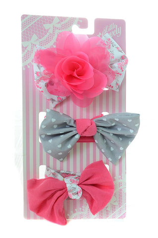 Pink Grey Hearts Bow Baby Headband Headwrap