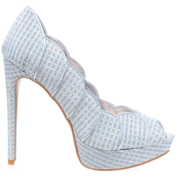 Silver Scalloped Glitter Peep-Toe Stiletto Heels Pump Women