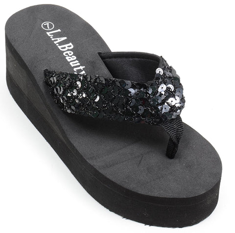 Platform Sequin Beach Flip Flop Sandals Thong Womens