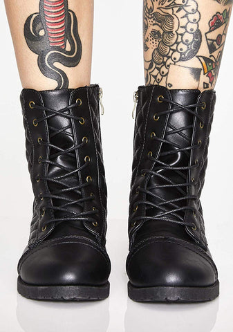 Quilted Lace up Military Style Combat Boots Women's Vegan Leather