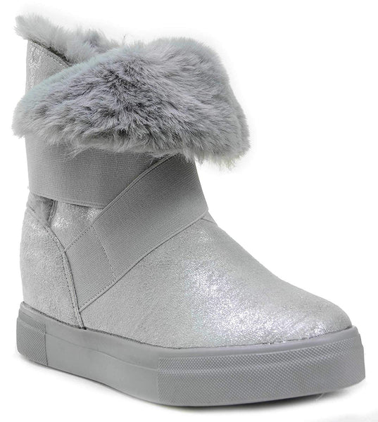 Grey Shimmer Boots Fur Vegan Women