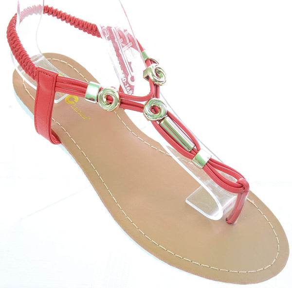 Red Knotted Flip Flop Flat Sandal Women's Thong Shoes