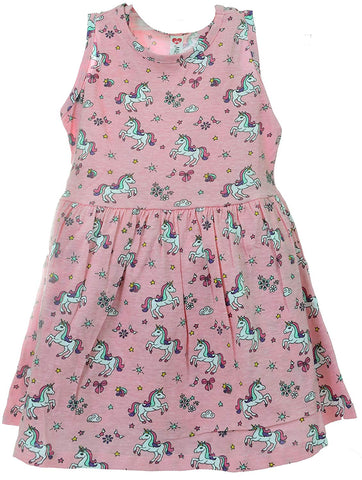 Unicorn Pink Girls Summer Sundress Sleeveless Dress