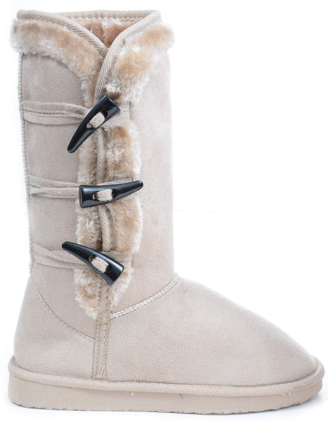 Furry Toggle Button Winter Vegan Suede Mid-Calf Boot Shoes