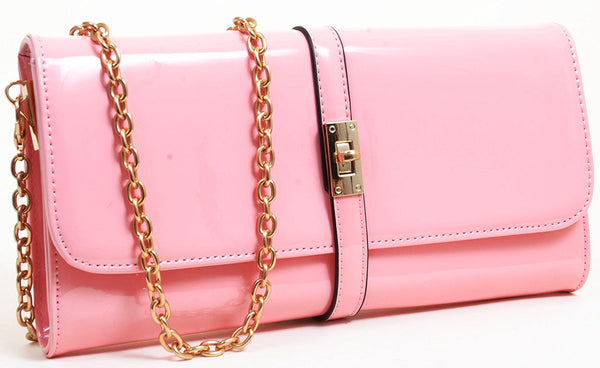 Pink Retro Look Vegan Patent Leather Fashion Clutch Purse