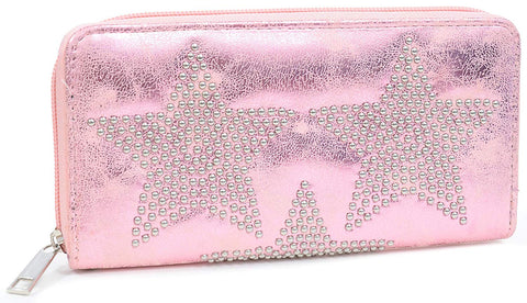 Metallic Star Zipper Wallet Lined Interior w/Pockets