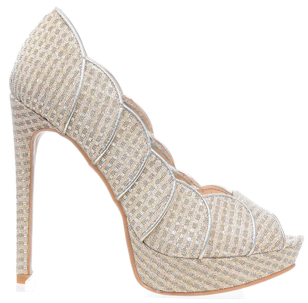 Gold Scalloped Glitter Peep-Toe Stiletto Heels Pump Women