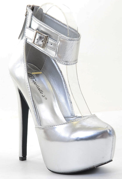 Metallic Silver Platform Ankle Stiletto Heel Pump
