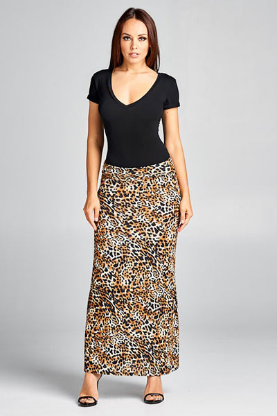 Animal Print Maxi Skirt Women's Fold Over Waist Made in USA