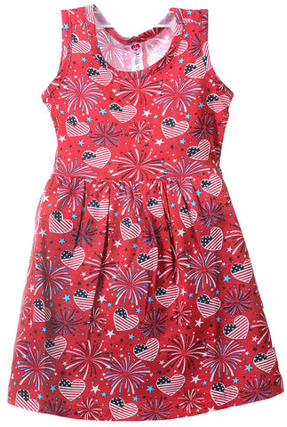 Patriotic American Flag Girls Summer Sundress Sleeveless Dress