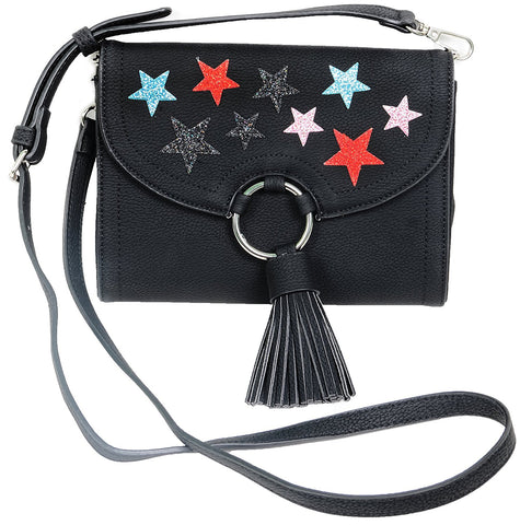 Glitter Stars Crossbody Purse Vegan Leather Women's