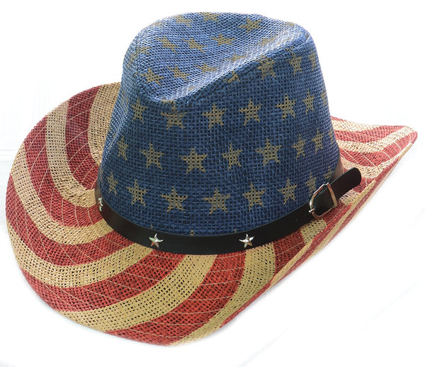 American Flag Star Studded Unisex Drifter Cowboy Hat Natural Stars and Stripes